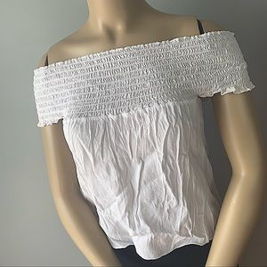 BRANDY MELVILLE WHITE RUFFLE OFF THE SHOULDER TOP